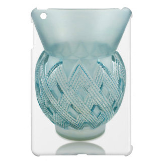 Blue Art Deco glass vase with etched design. Cover For The iPad Mini