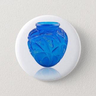 Blue Art Deco glass vase with grasshopper design. 2 Inch Round Button