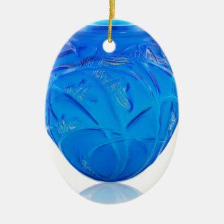 Blue Art Deco glass vase with grasshopper design. Ceramic Ornament