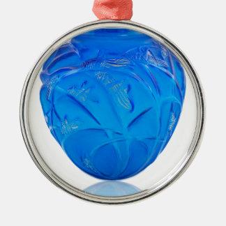 Blue Art Deco glass vase with grasshopper design. Metal Ornament