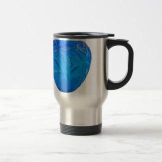 Blue Art Deco glass vase with grasshopper design. Travel Mug