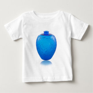 Blue Art Deco glass vase with leaves. Baby T-Shirt