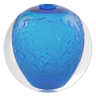 Blue Art Deco glass vase with leaves. Dinner Plates