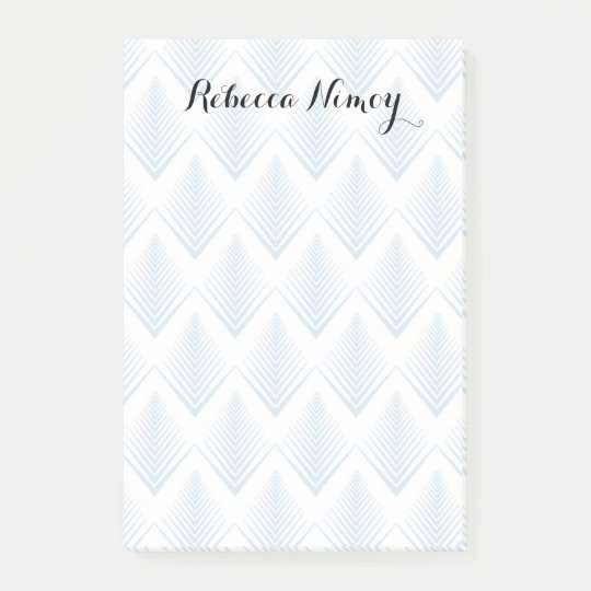 Blue Art Deco Pattern Personalized Post-it® Notes