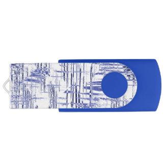 Blue Art Deco Swivel USB 2.0 Flash Drive