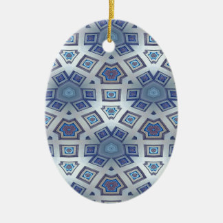 Blue Artistic Geometric Gear Like Pattern Ceramic Oval Ornament