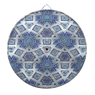 Blue Artistic Geometric Gear Like Pattern Dartboard