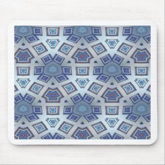 Blue Artistic Geometric Gear Like Pattern Mouse Pad