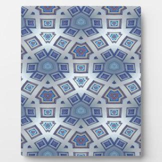 Blue Artistic Geometric Gear Like Pattern Plaque