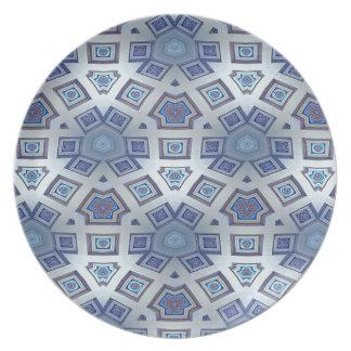 Blue Artistic Geometric Gear Like Pattern Plate