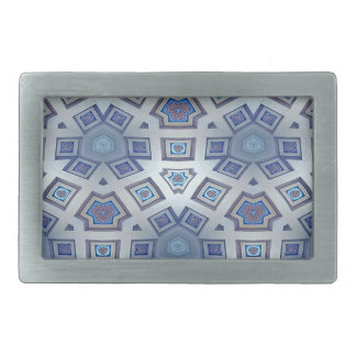 Blue Artistic Geometric Gear Like Pattern Rectangular Belt Buckle