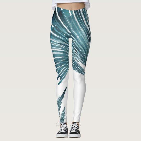 Blue Asimetric Lines Design Legging