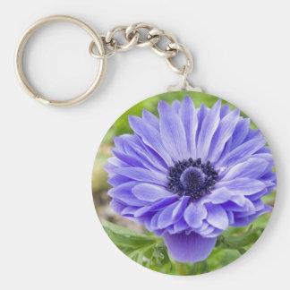 Blue Aster Flower Keychain