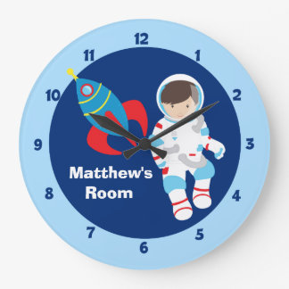 Blue Astronaut Spaceship Kids Large Clock