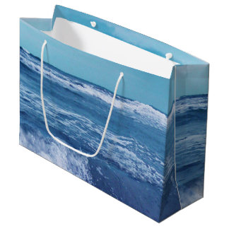 Blue Atlantic Ocean Waves Clouds Sky Photograph Large Gift Bag