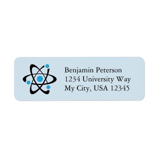 Blue Atom Design Return Address Labels