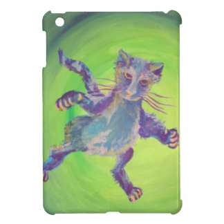 blue attack cat on green i-pad mini case case for the iPad mini