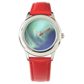 Blue Aurora Watch With Red Leather Strap