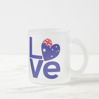 Blue Aussie LOVE 10 Oz Frosted Glass Coffee Mug