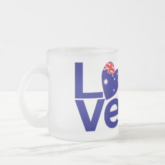 Blue Aussie LOVE Frosted Glass Coffee Mug