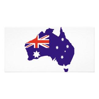 Blue Aussie Map Flag Photo Card Template