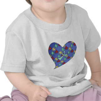 Blue Autism Awareness Puzzle Heart T-shirts