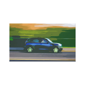 Blue Average Normal Car Traveling at High Speed Canvas Print