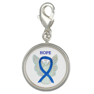 Blue Awareness Ribbon Angel Custom Charm Bracelet