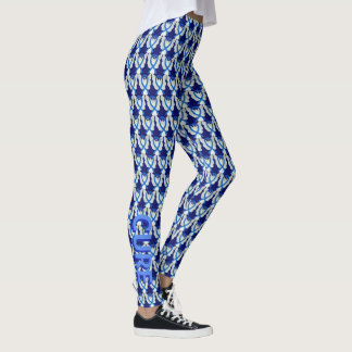 Blue Awareness Ribbon Angel Custom Word Leggings