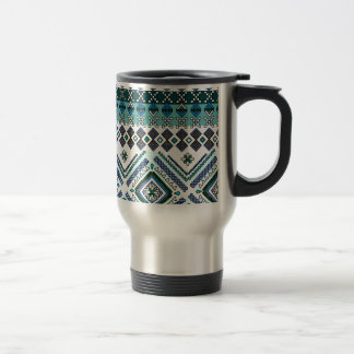 Blue Aztec Andes Tribal Pattern Travel Mug