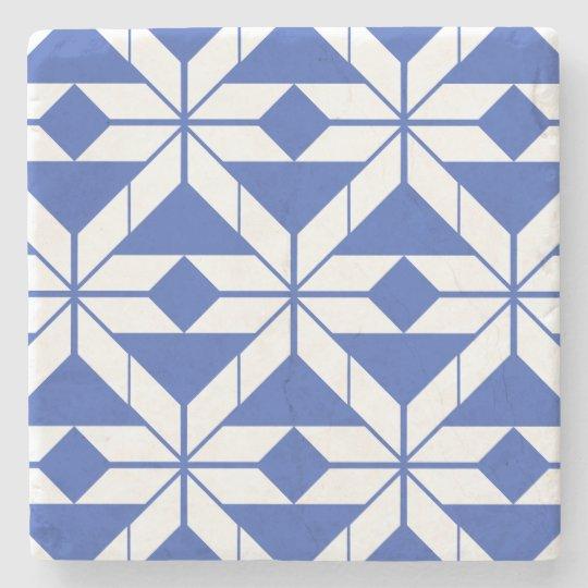 Blue Aztec Geometric Design Marble Stone Coaster