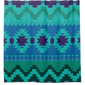 Blue Aztec Pattern Shower Curtain
