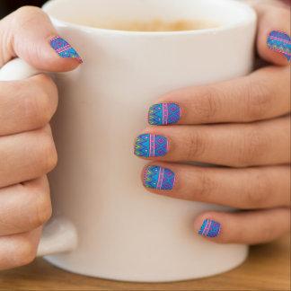 Blue Aztec Tribal Pattern Minx Nail Art