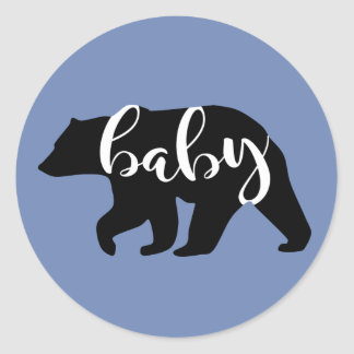 Blue Baby Bear Classic Round Sticker