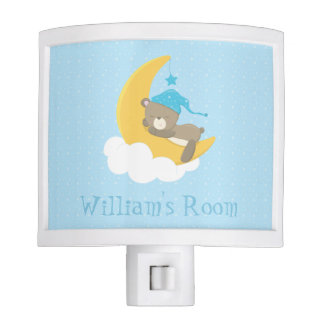 Blue Baby Bear Sleeping On The Moon - baby shower Nite Lites