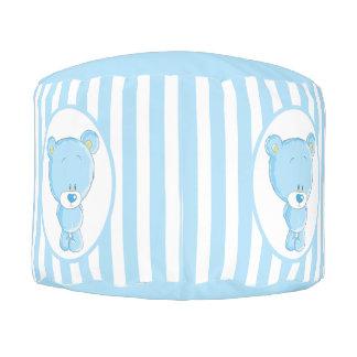 Blue Baby Bear Sturdy Spun Polyester Round Pouf