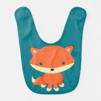 blue baby bib  cute fox aqua