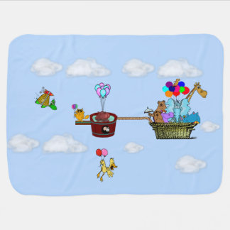 Blue Baby Blanket w/Funny Animals in Balloon