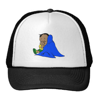 Blue baby blankie mesh hat