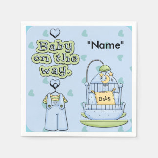 Blue Baby Boy Baby Shower Paper Napkins