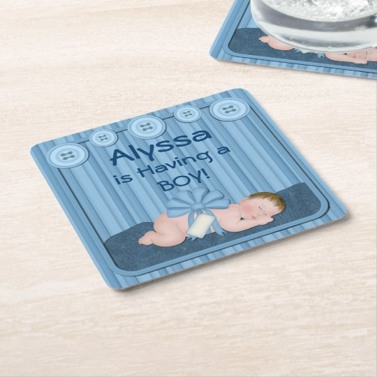 Blue Baby Boy Baby Shower Party Coasters