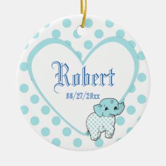 Blue Baby Boy Elephant Heart and Polka Dots Ceramic Ornament