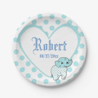 Blue Baby Boy Elephant Heart and Polka Dots Paper Plate