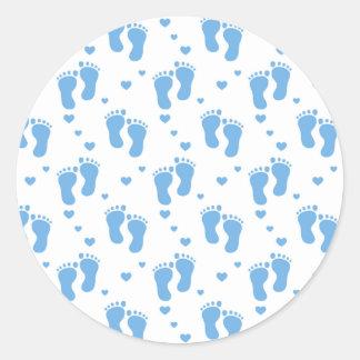 Blue baby boy feet pattern sticker