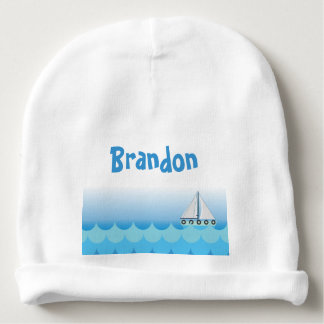 Blue Baby Boy Sailing Boat Sailor Ocean Sea Lake Baby Beanie