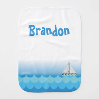 Blue Baby Boy Sailing Boat Sailor Ocean Sea Lake Burp Cloth