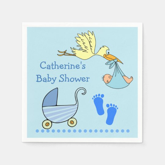 Blue Baby Boy Shower Stork Carriage Footprints Disposable Napkins