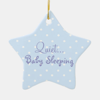 Blue baby boy sleeping door sign ceramic ornament