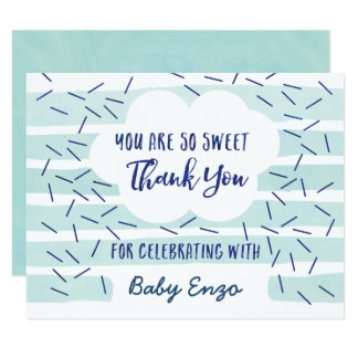 Blue Baby Boy Sprinkle Thank You Cards