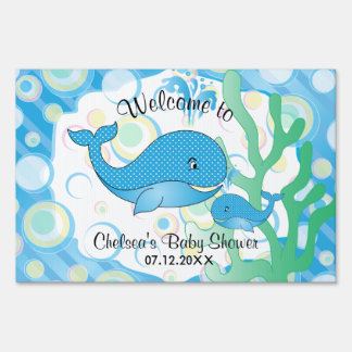 Blue Baby Boy Whale Baby Shower Sign